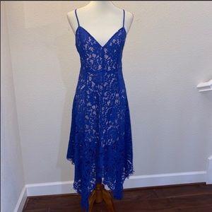 Lulu's Blue and Nude Lace Dress Size Medium